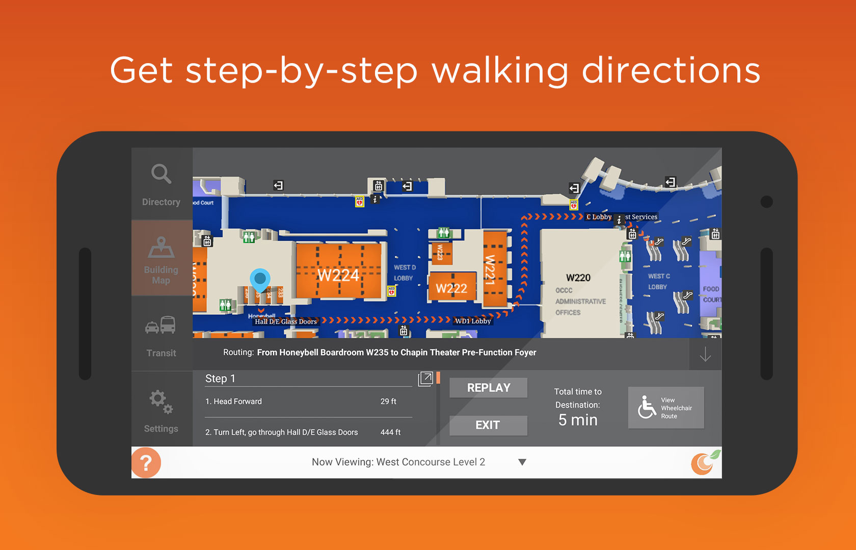 Get step-by-step walking directions